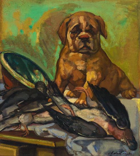 Bull-dog y palomas/Perro con paloma muerta/